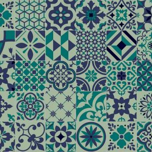 azulejos tile design sheet vinyl flooring in blue and green with felt backing