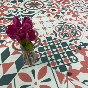kitchen, bathroom and hallway sheet vinyl in azulejos tile design