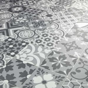 metallic silver and grey sheet vinyl flooring in patterned tile design alcantara