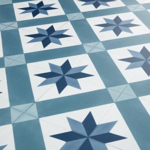White And Blue Star Tile Design Vinyl Flooring Sheet With Felt Backing