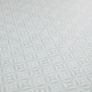 Aquamarine blue cement tile effect vinyl flooring ciment collection