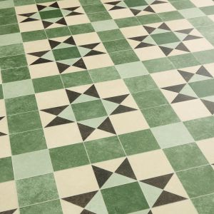 Green And Cream Victorian Tile Effect Vinyl Flooring Sheet Lino