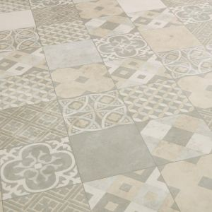 ivory and cream patchwork design vinyl flooring sheet in natural stone design