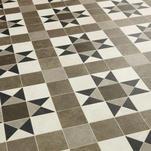 Felt Back Grey and Black Victorian Tile Effect Sheet Vinyl Flooring For Kitchens and Bathrooms