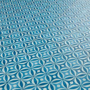 Deep Blue Cement Tile Design Vinyl Flooring Sheet For Kitchen Floor