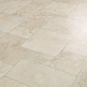 Babylon 903 Extra Thick Random Tile Design Vinyl Flooring In Mixed Sizes For Bathroom Floors