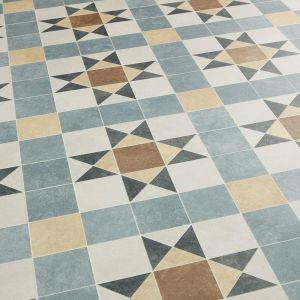 Barlow Blue And Brown Victorian Tile Effect Sheet Vinyl Flooring With Felt Backing