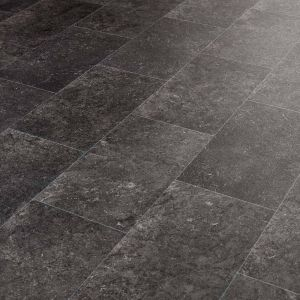 Thick Black Tile Effect Vinyl Flooring With Rectangle Groutlines For Kitchens And Bathrooms