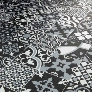 metallic tile design sheet vinyl flooring for kitchens, bathrooms and hallways benfica