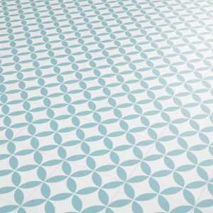 Blenheim Green And White Petal Tile Design Vinyl Flooring Sheet With Foam Backing