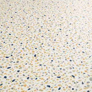 White Terrazzo Design Vinyl Flooring Sheet With Blue And Yellow Chippings
