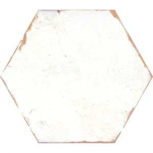 Lino White Hexagon Porcelain Tiles With Worn Edges For Wall And Floor Installations