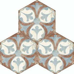 Kitchen, Hallway And Bathroom Floral Tiles In Blue And Brown Hexagon Design Viana