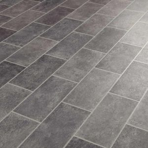 Atlas Vinyl Flooring Sheet In Grey Rectangle Tile Design For Kitchens And Bathrooms