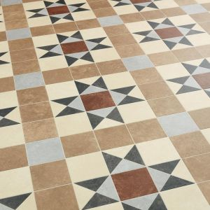 Brindley Tessellated Victorian Tile Effect Vinyl Flooring In Beige, Red And Blue