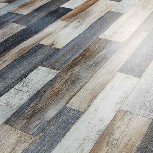 Metallic Wood Effect Vinyl Flooring Sheet In Blue, Bronze And Silver