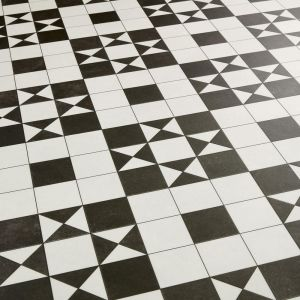 Brunel Black And White Victorian Tile Effect Sheet Vinyl Flooring With Felt Backing