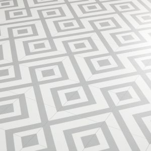 Grey And White Cairo 02 Tile Effect Vinyl Flooring Sheet With Triangle Printed Design