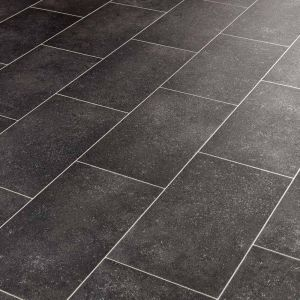 Spectrum Callanish Black Tile Effect Vinyl Flooring Sheet With Rectangle Printed Groutlines