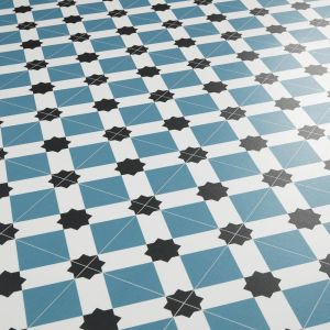star tile design vinyl flooring sheet for kitchens, bathrooms and hallways in blue