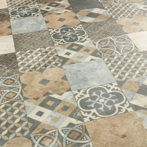 Cemento Natural Stone Effect Vinyl Flooring In Patchwork Tile Design With Foam Backing