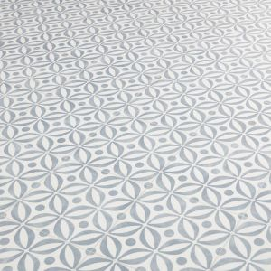 Blue And Grey Petal Tile Desing Vinyl Flooring Sheet For Bathrooms Floors