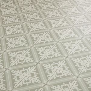 Cushion Vinyl Flooring Sheet In Grey Moroccan Tile Effect Design For Kitchen And Bathrooms Floors