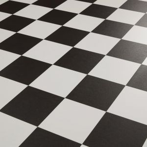 Black And White Checkerboard Tile Design Vinyl Flooring Sheet Dublin 599