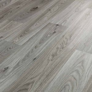 Thick Wood Effect Vinyl Flooring Sheet In Medium Grey Design Eltham Oak