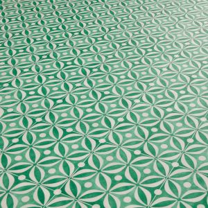 Bottle Green Cement Tile Effect Vinyl Flooring Sheet With Cushioned Backing For Kitchens And Bathrooms