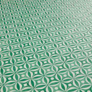 Green Cement Tile Effect Sheet Vinyl Flooring