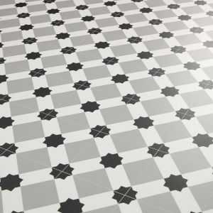 grey victorian tile effect with wit star design for kitchen and bathroom floors