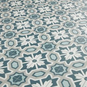 Floral Blue Green and Beige Vinyl Flooring Sheet Roll Kitchen Bathroom - Forget Me Not 584