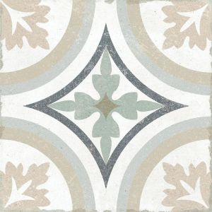Gabana Rubeli Floral Design Porcelain Tile In Grey With Lustre Effect For Indoor And Outdoor Use