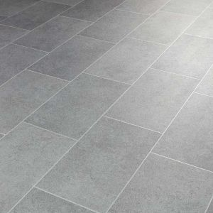 Tile Effect Metallic Silver Sheet Vinyl Flooring For Kitchens And Bathrooms