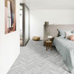 Herringbone Cushioned Vinyl Flooring Sheet Frosted Elm