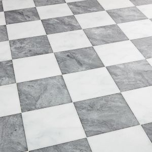 Diamond Checkerboard Sheet Vinyl Flooring In Marble Tile Design