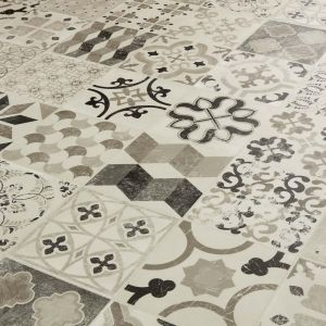 Black And Grey Antique Design Sheet Vinyl Flooring In Tile Effect Style