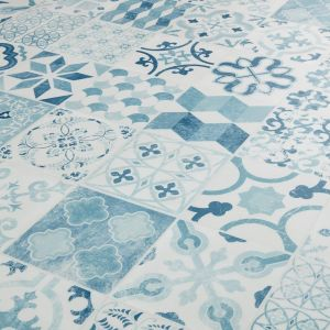 Antique Style Cushion Vinyl Flooring- Gustavian 03 (Almeria Blue)