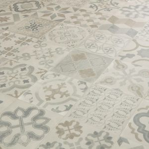 Antique Grey Tile Effect Vinyl Flooring Sheet Gustavian 07 For Bathroom Floors