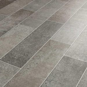 Grey Terrazzo Tile Effect Cushioned Vinyl Flooring Haddon Stone With Felt Backing