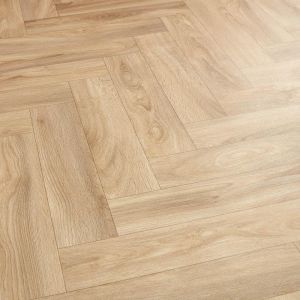 Oak Effect Parquet Vinyl Flooring Sheet With Felt Backing For Hallway Floors