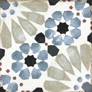 Blue Floral Patterned Porcelain Tile With Aged Look And Rounded Edges Loft Mina