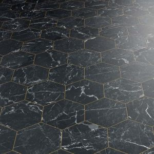 black hexagon tile design sheet vinyl for kitchens and bathrooms