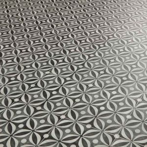 Black vinyl flooring cement tile pattern for homes, kitchens, bathrooms, hallways