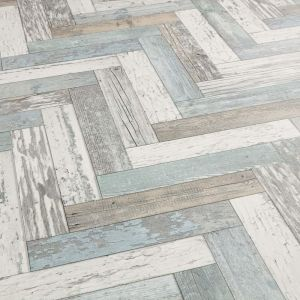 Blue, Green And White Herringbone Style Vinyl Flooring Pacific Painted Wood