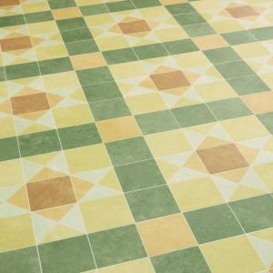 Green And Yellow Victorian Tile Design Vinyl Flooring Sheet With Felt Backing Pullinger