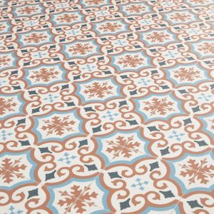terracotta and blue cushioned sheet vinyl in spanish pattern