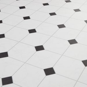 Atlas Black And White Keystone Design Vinyl Flooring Sheet Scapa 597
