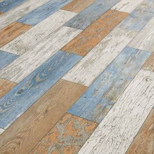 Blue, White And Brown Reclaimed Wood Effect Sheet Vinyl Flooring Sky Painted Wood